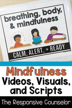 Teach mindfulness in the classroom with my videos and slides that lead them in breathing strategies, body relaxation, and mindfulness activities. These strategies could be applied to students ranging from kindergarten to 6th grade, and could be used for whole group, small group, individual, or even virtual counseling. Teaching Mindfulness, Mindfulness Exercises, Mindfulness For Kids, Mindfulness Activities, Group Counseling, Counseling Activities, Learning Activities, Activities For Kids, Responsive Classroom