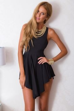 Black Open Back Asymmetrical Mini Dress | USTrendy