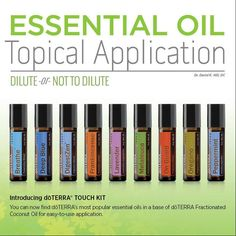 Knowing when and how to dilute essential oils is an important part of essential oil safety. Read our latest blog post to learn more about how to use essential oils topically and how our new doTERRA Touch Kit (available to purchase October 1) is perfectly diluted to help make using essential oils safe and effective for you and your family. Click here to learn more: www.doterrablog.com/essential-oil-topical-application-dilute-or-not-to-dilute