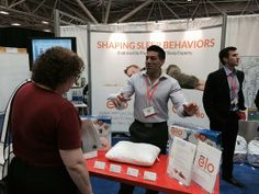 Eitel is loving every chance he gets to talk to attendees about the elo pillow.