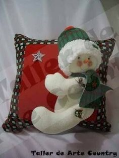 Snowman attached to Christmas pillow Christmas Room, Christmas Fabric, Christmas Pillow, Christmas Snowman, Christmas Projects, Handmade Christmas, Christmas Stockings, Christmas Ornaments, Snowman Decorations