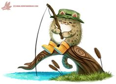 Daily Paint #1160. Fishing Cat by Cryptid-Creations.deviantart.com on @DeviantArt