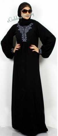Full-length. Round neckline, Back opening, Resham embroidery, Imported.   This beautiful black Abaya is the one for the lovely woman of today who settles for nothing but the best. Quality, style and fashion all rolled into one.   This Black Abaya in crepe with resham embroidery work and fabric gathers work says it all.    Depending on wether you're after loose or tight fitting, please match your dress size according to Australian standards.  $77.50 AUD