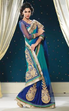 BLUE NET LATEST SAREE - SHRI 5124