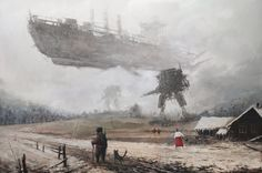 """The Polish artist Jakub Rozalski, who goes by the sobriquet """"Mr. Werewolf,"""" has produced an amusing series of steampunk-ish canvases in which serene and idyllic rustic landscapes of what seem to be Eastern Europe (Rozalski's very back yard, you might say) Steampunk Kunst, Steampunk Robots, Gothic Steampunk, Steampunk Clothing, Victorian Gothic, Steampunk Fashion, Gothic Lolita, Concept Art World, Amazing Paintings"""