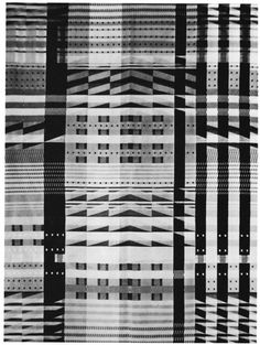 Gunta Stolzl This is supposed to be colour - i think but i quite love it bw Jacquard fabric Location unknown Photograph: Bauhaus-Archiv, Berlin Textile Patterns, Textile Prints, Textile Design, Textile Art, Print Patterns, Bauhaus Textiles, Century Textiles, Instalation Art, Jacquard Fabric