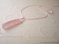 Rose Quartz Necklace Pink Beaded Necklace Heart Chakra by INOMINOS