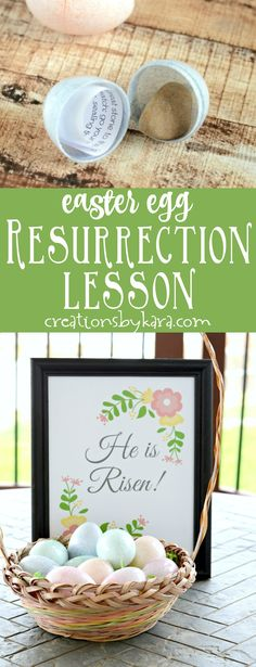 Easter Egg Resurrection Lesson and free printable Easter art - He is Risen! Christ centered Easter ideas