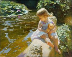 "Vladimir #Volegov ""Goldilocks at pond"", 92x73 cm, oil on canvas. 2014  ‪#‎gold‬ ‪#‎hair‬ ‪#‎pond‬"