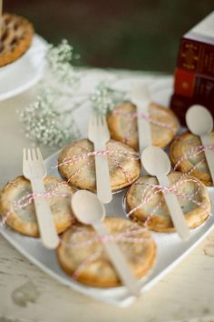 Cute bake sale idea... mini pies with forks or spoons attached!