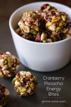 Raw Cranberry Pistachio Energy Bites from Gimme Some Oven. Made up of natural, nutrient-dense ingredients including oats, nuts, dried fruit and seeds. Sub agave or other vegan sweetener for honey.