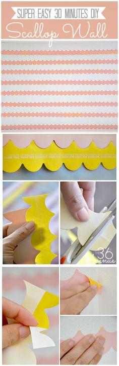 30 minutes DIY Scallop Wall... Tutorial #Frogtape #shapetape