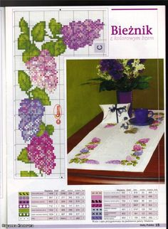 Mantel flores punto de Cruz. Cross stitch