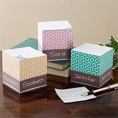 Her Design Personalized Paper Note Cube.  I want one of these!