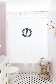 Monogram bath curtain