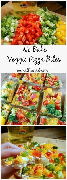 Looking for an easy, heat free snack, appetizer or lunch? Try this delicious and healthy no bake veggie pizza bites! 10 minute appetizer everyone loves!