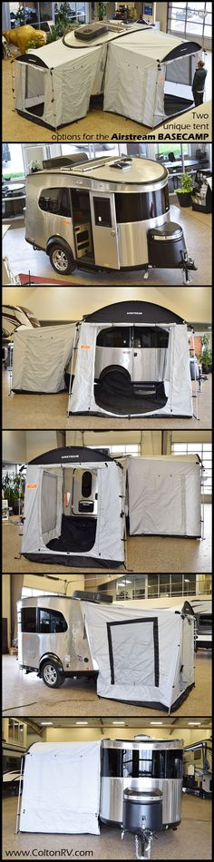Two unique tent options attach to either the door-side or rear of the AIRSTREAM BASECAMP 16NB travel trailer . When used together, they give you 120 square feet of additional sheltered outdoor space for sleeping, lounging, or storing your gear out of the rain!