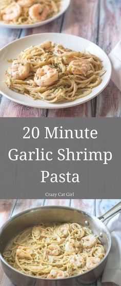 20 Minute Garlic Shrimp Pasta. Makes 2 servings. Click through to my website to download your FREE pasta cookbook!