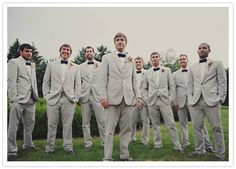 Grey suits with navy ties. classic vintage Michigan wedding