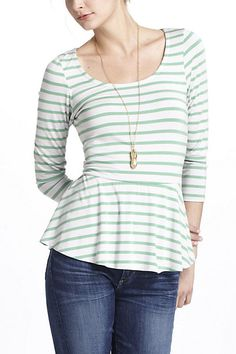 $58.00 | Striped Peplum Top - Anthropologie