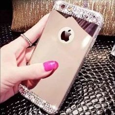 Luxury Mirror Phone Thin Case Inches Bling Diamond Crystal Back Slim Cover Protector Shiny Rhinestone Great Gift For Girls Premium Handmade TPU Flexible Protective For iPhone 6 6S Plus Samsung Galaxy S7 Edge