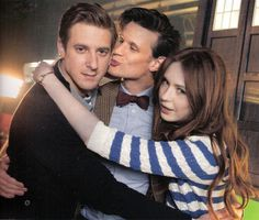 so many reasons for perf: karen's arms are around arthur, arthur's arms are around karen, matt is in a pond sandwich, matt is kissing arthur: perf