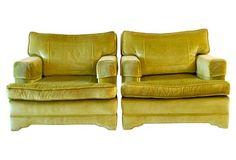 Green Midcentury Armchairs, Pair
