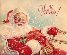 Vintage Christmas Card - Santa's got game, yo.