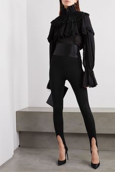 Black stretch-knit Concealed zip fastening along side viscose, polyamide, elastane Dry clean Made in Italy Parisienne Chic, Pomellato, 90s Fashion, High Fashion, Fashion Outfits, Fashion 2020, Ladies Fashion, Fashion Models, Tour Eiffel