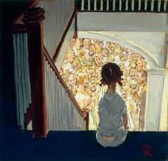 "this is the fabulous tiny painting (10x10) by Norman Rockwell: ""Little girl looking downstairs at Christmas Party"" (1964)- George Lucas collection - I've been lucky to admire at the Smithsonian American Art Museum in Washington, DC, Aug.2010"