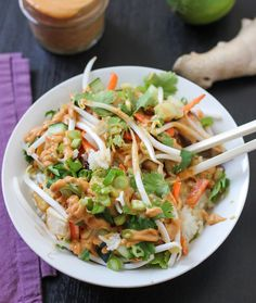 Sweet and Spicy Thai Curry Burrito Bowl! Ginger, coconut milk, curry paste, peanut butter, lime, rice wine vinegar, tofu, red chili pepper flakes, carrots, bean sprouts, cucumber, green onion. Replace rice with spaghetti squash for an all-veg version! From Luminous Vegans.
