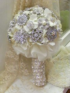Brooch bouquet SMALL  deposit  pearls and rhinestones  by Croska, $150.00