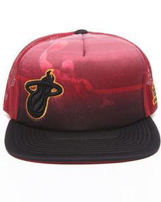 d3382e36a86 Miami Heat Image Trucker Mesh Hat Flat Bill Hats