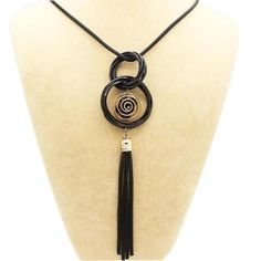 Gold Silver Plated Double Circles Long Necklaces Pendants Statement Tassels Necklace Collar Women Jewelry