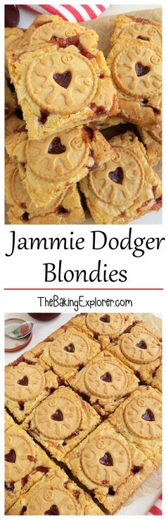 Yummy white chocolate blondies with Jammie Dodger biscuits and strawberry jam! An easy traybake recipe, great for parties and bake sales. Tray Bake Recipes, Baking Recipes, Cake Recipes, Dessert Recipes, Desserts, Baking Ideas, Lemon Brownies, Blondie Brownies, White Chocolate Blondies