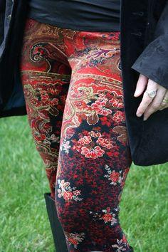 I kind of adore these leggings. :)    Ladies Limited Edition Metallic Paisley Velvet Leggings - pick your size. $60.00, via Etsy.