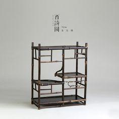 Bamboo frame shelf for sencha tea ceremony