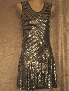 1920 Great Gatsby Style Flapper  Party Dress Art Deco Sequins Night Club Wear M #PSILoveYou #Clubwear