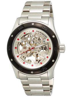 Akribos XXIV world of watches . Stainless Steel Watch, Stainless Steel Bracelet, Best Skeleton Watches, Cool Watches, Watches For Men, Women Skeleton, Automatic Watch, Watch Brands, Casio Watch