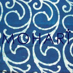 A beautiful hand block printed fabric in light indigo dabu dye.