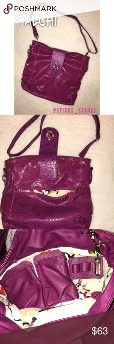 Magenta Leather Falchi Shoulder Bag Gorgeous magenta leather  Snakeskin look with jeweled magnetic closure  One outer zippered compartment  Interior is in EUC  One zippered pocket inside along with two leather pouches and pen holders  Exterior is in great condition with one very small hole on the strap shown in last photo. The 7th photo shows that the jewel is no longer sewn all around, however, it is secure and does not look flawed. Please ask questions prior to purchasing. More photos…