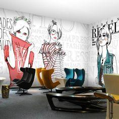 free shipping 3d beauty barber mural salon barber shop fashion