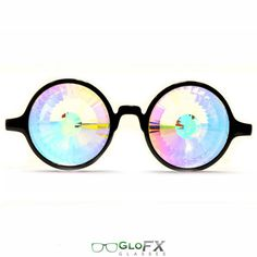 Holiday SALE GloFX Kaleidoscope Glasses- Wormhole Laser Cut Crystal Glass Lenses With Rainbow Rave Eye Wear Light Diffracting