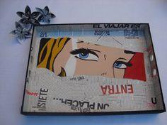 Bandeja 30 x 40 pintada a mano + decoupage roy lichtenstein