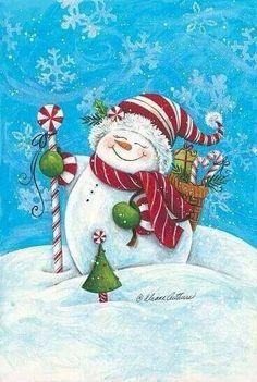 christmas paintings 40 Beautiful Christmas Painting Ideas to Try This Season - Bored Art Christmas Graphics, Christmas Clipart, Vintage Christmas Cards, Christmas Images, Christmas Snowman, Christmas Projects, Winter Christmas, Christmas Time, Christmas Ornaments