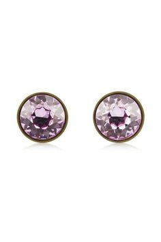 Givenchy - Small Round Earrings In Lacquered Pewter And Purple Crystal - one size