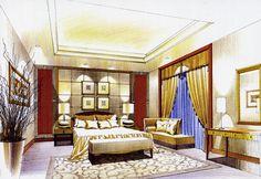 Bedroom interior design sketch