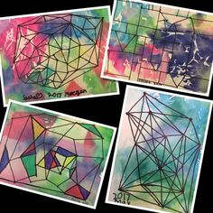 We learned about geometric and organic shape in second grade, and created a composition that used both. We filled in our negative space, or background, with torn pieces of tissue paper and water. Thes