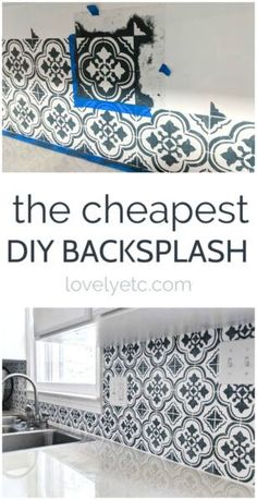 This DIY backsplash may be cheap, but it looks beautiful! Step by step instructions for painting your own kitchen backsplash and adding major style with a tile stencil. # DIY Home Decor rental The Cheapest DIY Backsplash Ever - Lovely Etc. Architecture Renovation, Home Renovation, Home Remodeling, Painting Tile Backsplash, Backsplash Cheap, Kitchen Without Backsplash, Inexpensive Backsplash Ideas, Painting Tiles, Inexpensive Flooring