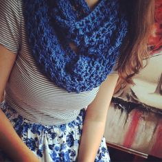 WillowandCloves Features:  - Blue Rose handmade crochet infinity scarf!  Only on Etsy!!! - This scarfs has a fun and whimsical pattern! The blue is rich mild with sweet little